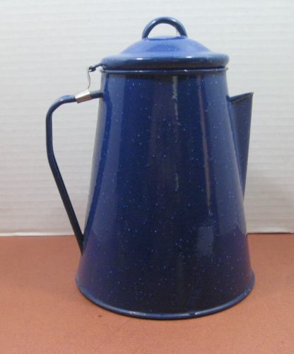 BLUE SPECKLED METAL COFFEE POT
