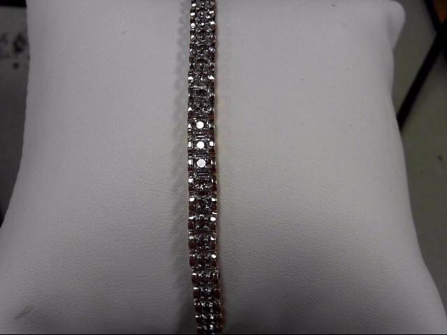Gold-Diamond Bracelet 55 Diamonds 1.10 Carat T.W. 10K Yellow Gold 8.82g