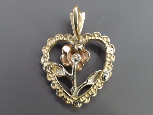 VINTAGE HEART FLOWER CHARM PENDANT SOLID 14K GOLD TRI TONE LOVE GIFT