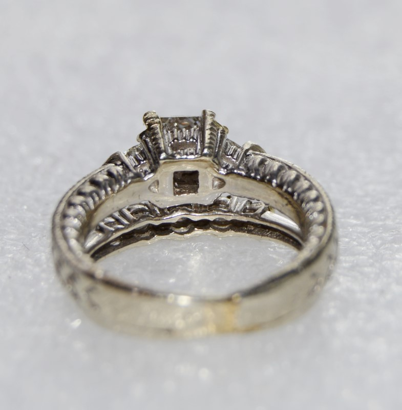 10K White Gold Custom Ornate Princess, Trillion & Round Diamond Wedding Ring Set
