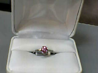 Pink Sapphire Lady's Stone Ring 10K White Gold 1.6dwt Size:6.3