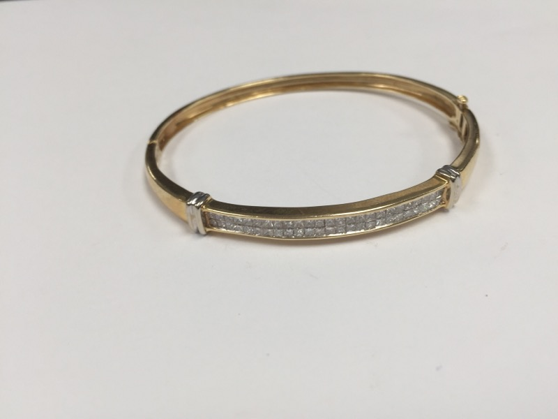 Gold-Diamond Bracelet 50 Diamonds 2.50 Carat T.W. 14K Yellow Gold 10.2g