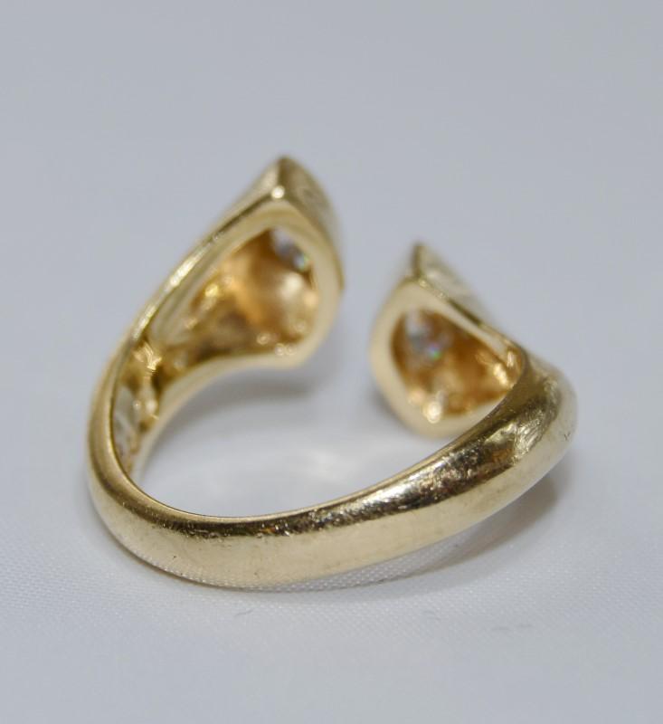14K Yellow Gold Full Bezel Flush Set Marquise Diamonds Open Wrap Ring Size 6.5