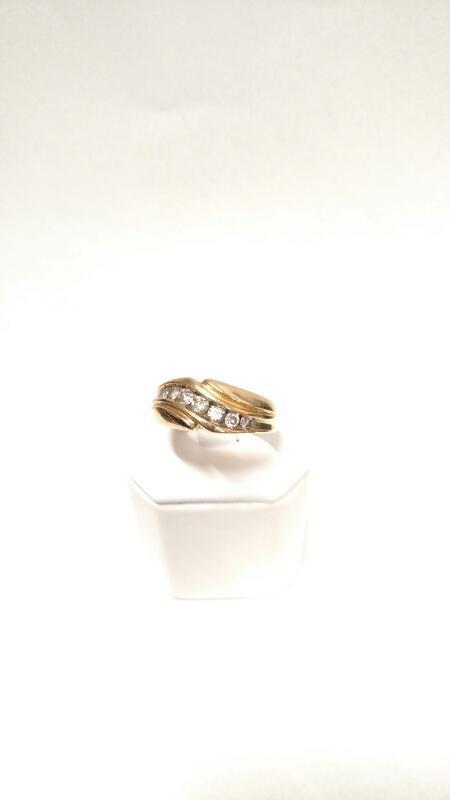 14K YG Gent's Gold-Diamond Wedding Band DIAMOND 7 Diamonds .54 Carat T.W.