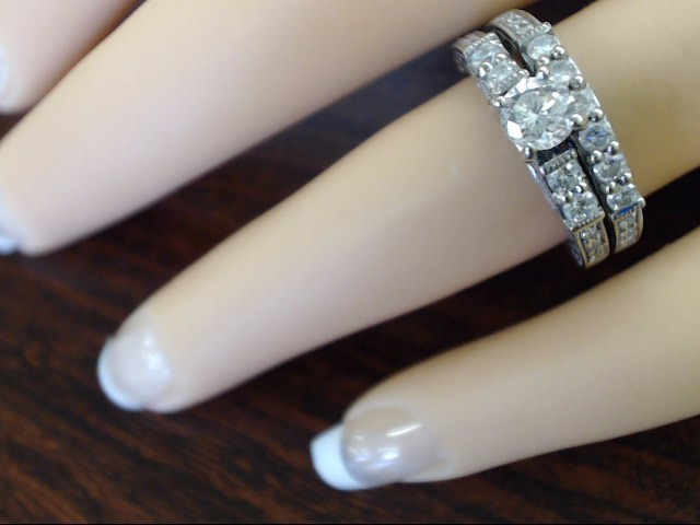 VINTAGE DIAMOND ENGAGE WED SET RING BAND SOLID 18K WHITE GOLD SIZE 5