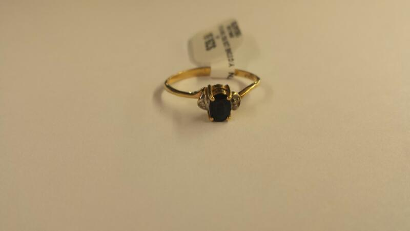 10KTN_Y/G Blue Stone Lady's Stone Ring 10K Yellow Gold 0.7dwt