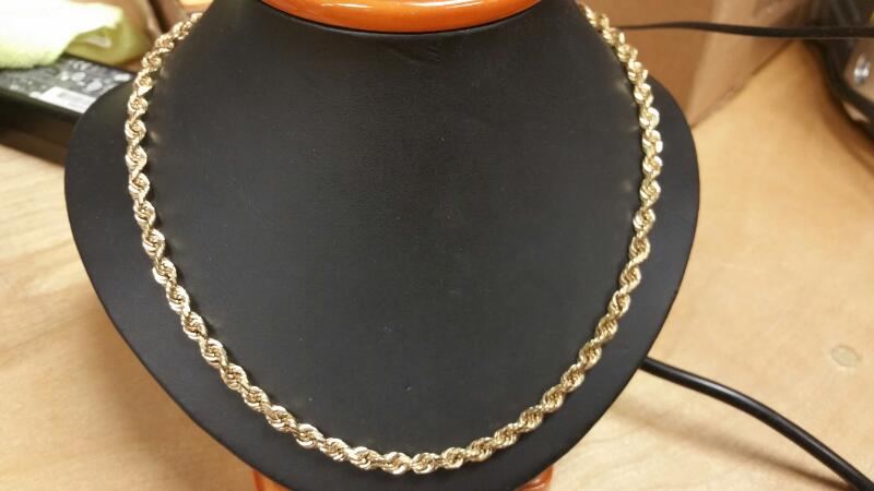 Gold Rope Chain 14K Yellow Gold 20.3dwt