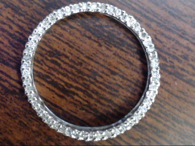 "VINTAGE DIAMOND 1"" CIRCLE LIFE PENDANT CHARM SOLID 10K WHITE GOLD"