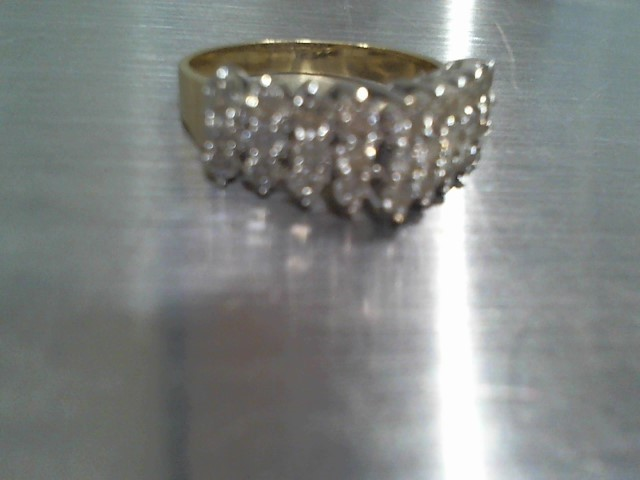 Lady's Diamond Cluster Ring 27 Diamonds .81 Carat T.W. 14K Yellow Gold 3.7g