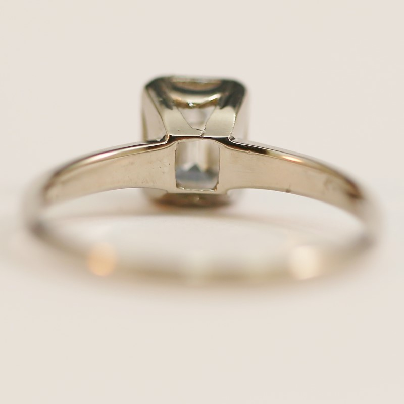 14K White Gold VS-1 Emerald Cut Diamond Solitaire Ring Size 7.25