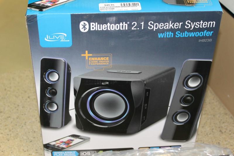 ILIVE IHB23B 2.1 Bluetooth Speaker System with Subwoofer Blue LED