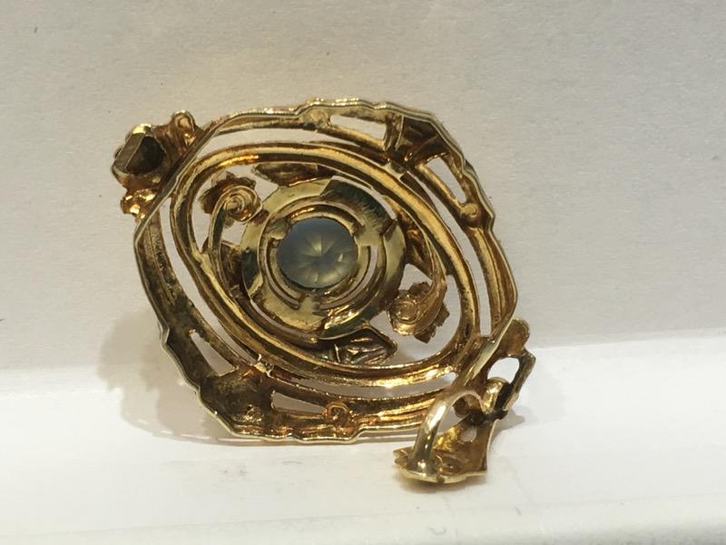 14K Yellow Gold Vintage Inspired Ornate Floral Filigree Bezel Aquamarine Pendant