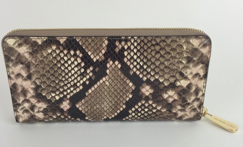 MICHAEL KORS JET SET CONTINENTAL ZIP AROUND PYTHON WALLET