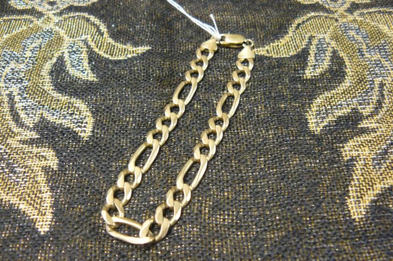 Gold Figaro Bracelet 14K Yellow Gold 11.11dwt