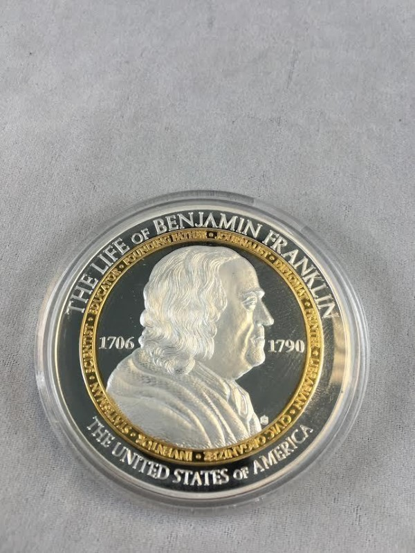 American Mint Life of Benjamin Franklin Cu Silver Plated Proof Coin 54 Gram 2015