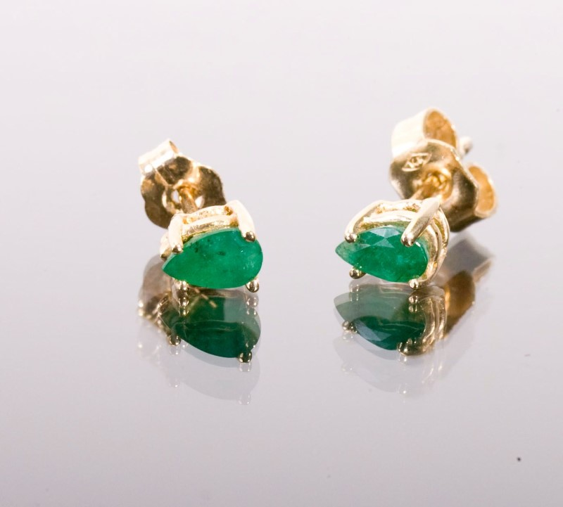 Emerald Gold-Stone Earrings 14K Yellow Gold 0.8g