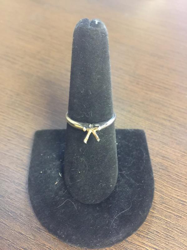Lady's Gold Ring Mount 18K White Gold 2.5g Size:7