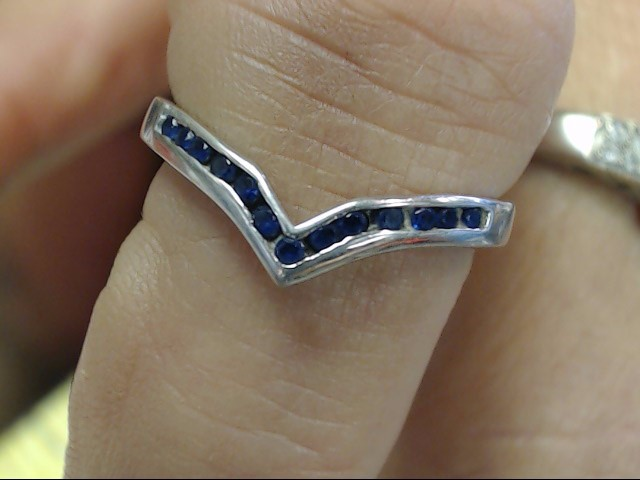Sapphire Lady's Stone Ring 10K White Gold 1.75dwt
