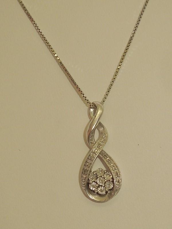 Diamond Necklace 17 Diamonds .085 Carat T.W. 925 Silver 4.8g