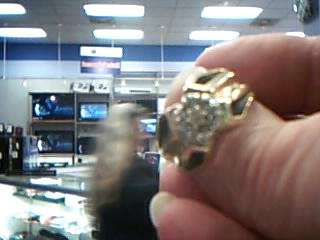 Gent's Diamond Cluster Ring 7 Diamonds .49 Carat T.W. 10K Yellow Gold 6.5g