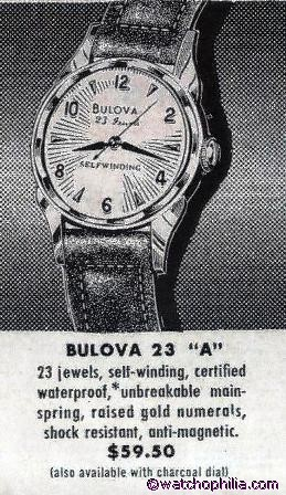 BULOVA Gent's Wristwatch 1959 MODEL 23A