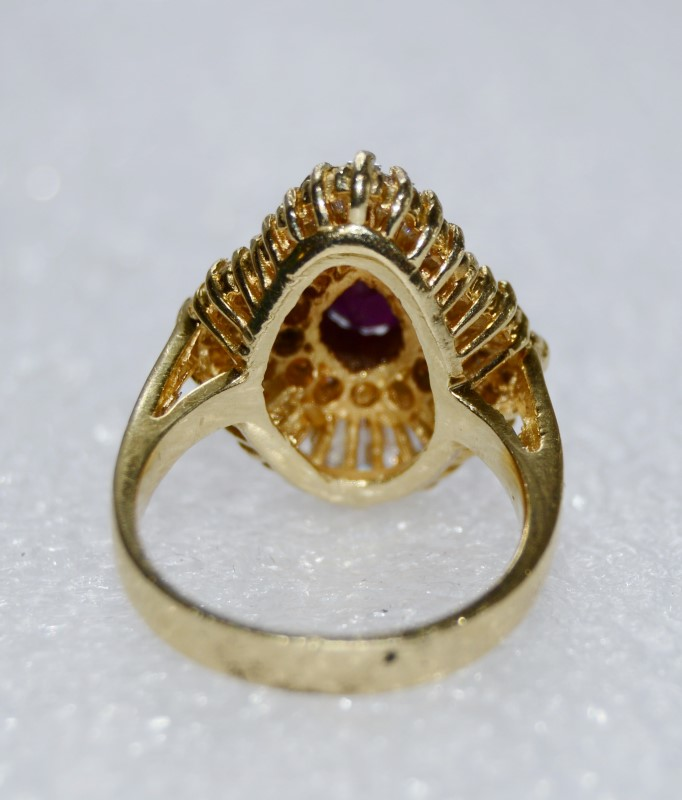 14K Yellow Gold Vintage Inspired Cathedral Pear Ruby & Diamond Shield Ring 5.5