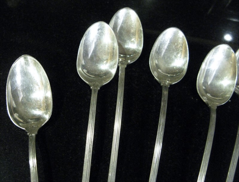 "13 - REED & BARTON JACOBEAN PAT. SEPT. 5, 1911 STERLING SILVER 7"" TEASPOONS"