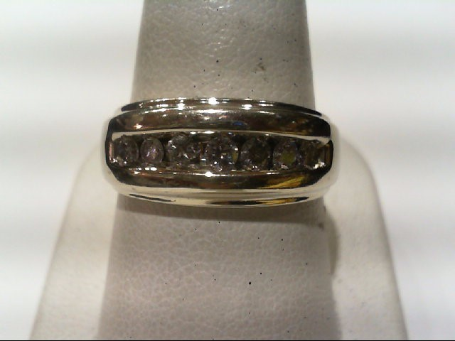 Gent's Gold-Diamond Wedding Band 7 Diamonds .52 Carat T.W. 14K White Gold 6.26g