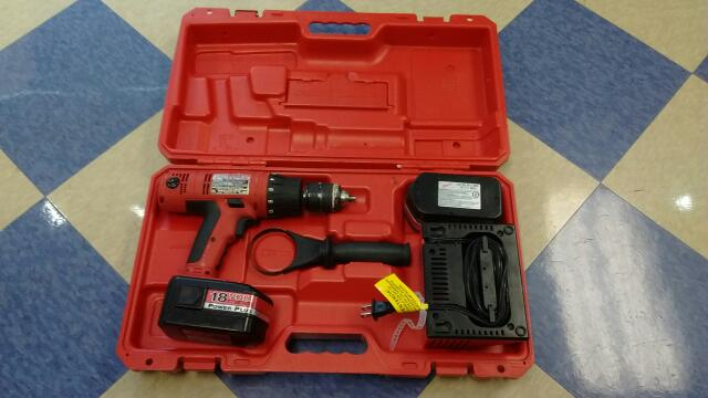 "Milwaukee 18V 1/2"" Cordless Electric Hammer Drill Kit"