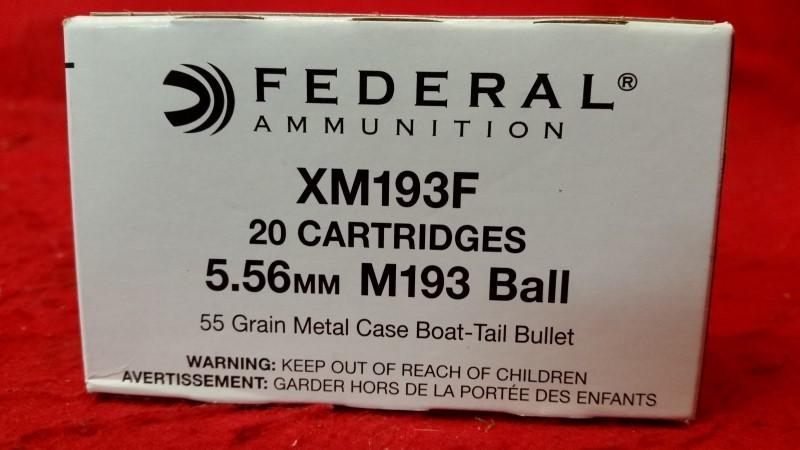 Federal XM193F 5.56mm 55gr FMJ Boat Tail