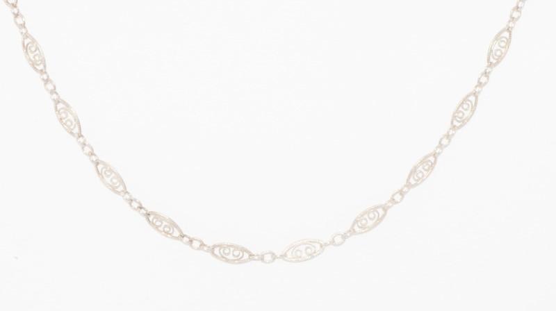 "19"" Sterling Silver Filigree Twist Link Chain"