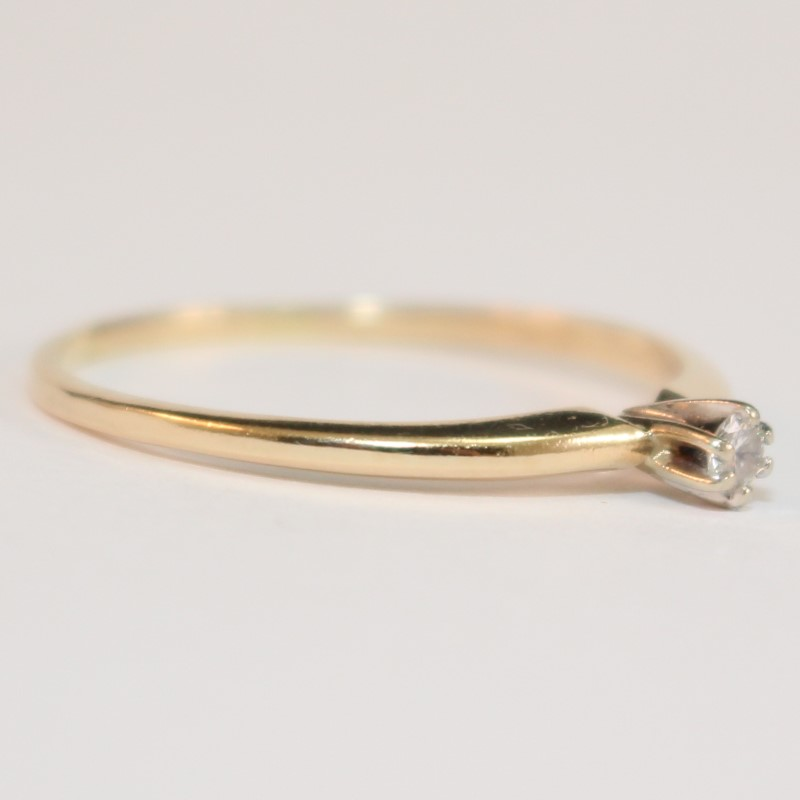14K Yellow Gold Round Brilliant Diamond Solitaire Ring Size 10.5
