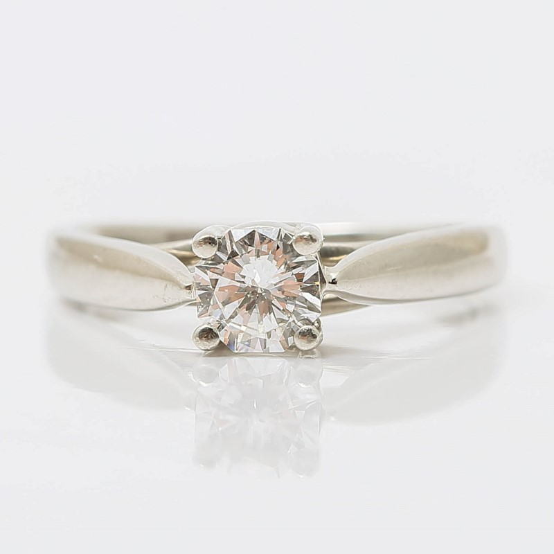 Zales Platinum Round Brilliant Diamond Solitaire Ring Size 5.75