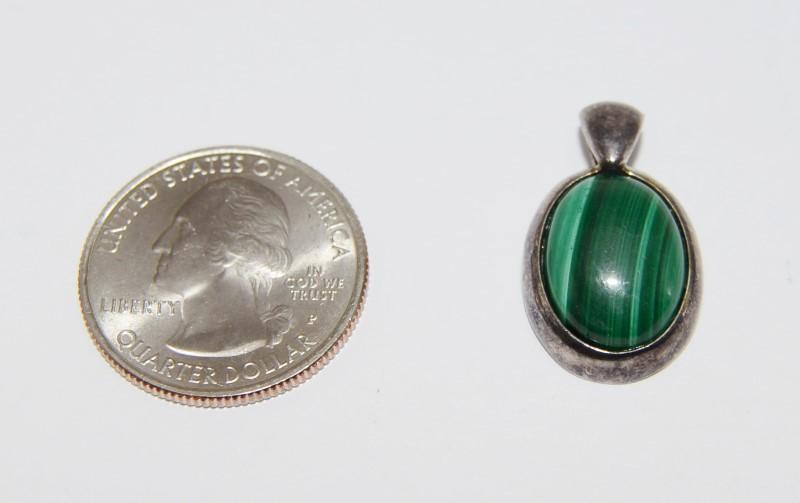 Sterling Silver Full Bezel Set Oval Malachite Pendant