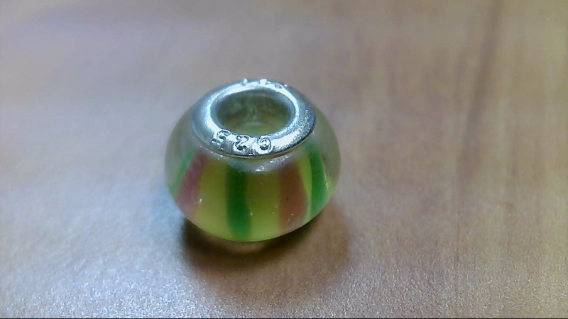 Yellow Red and Green Glass Bead