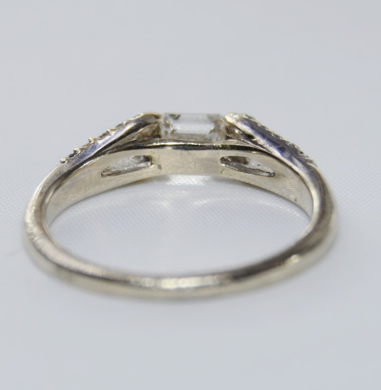 Unique 14K White Gold Sideways Emerald Cut Diamond Engagement Ring Size: 6.5