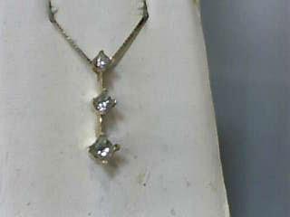 "17"" Diamond Necklace 3 Diamonds .55 Carat T.W. 14K Yellow Gold 1.7dwt"