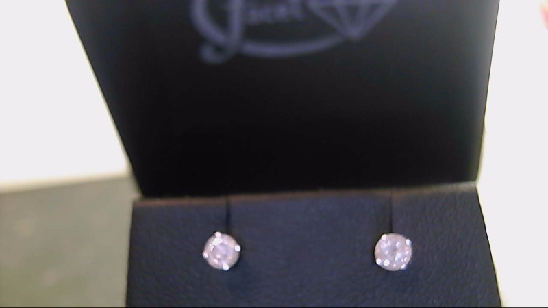 lady's 14k white gold round diamond stud earrings