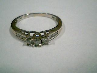 Lady's Diamond Engagement Ring 9 Diamonds .18 Carat T.W. 10K White Gold 1.8g