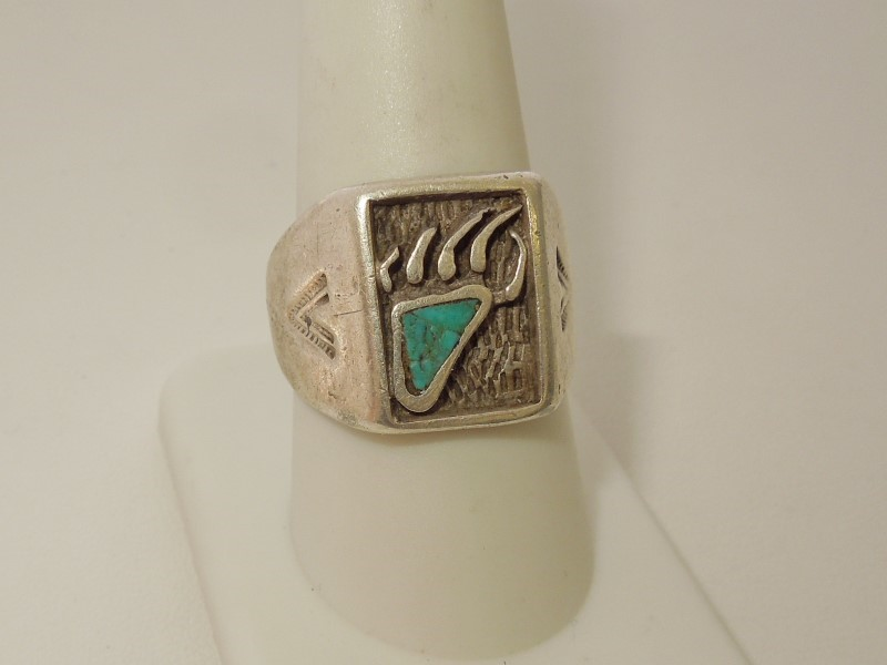 Synthetic Turquoise Gent's Silver & Stone Ring 925 Silver 11.1g Size:9