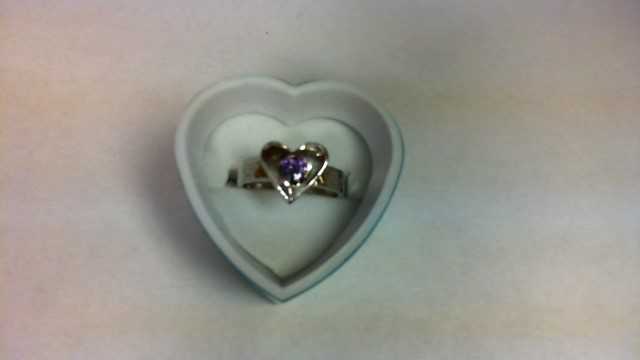 Amethyst Lady's Silver & Stone Ring 999 Silver 4.4g Size:7.5