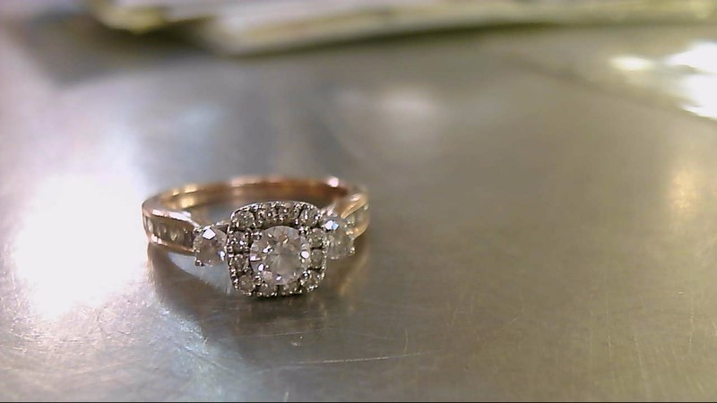 Lady's Diamond Engagement Ring 25 Diamonds .88 Carat T.W. 14K 2 Tone Gold 4g