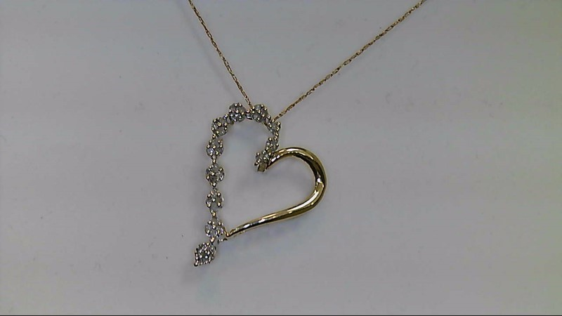 Lady's 10k yellow gold 32-1mm rd dia heart necklace, 1.3g