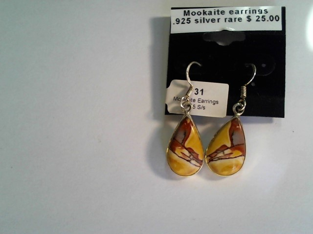 .925 SILVER MOOKAITE EARRINGS 18X12 MM ON STONE OVER ALL SZ 35X12MM