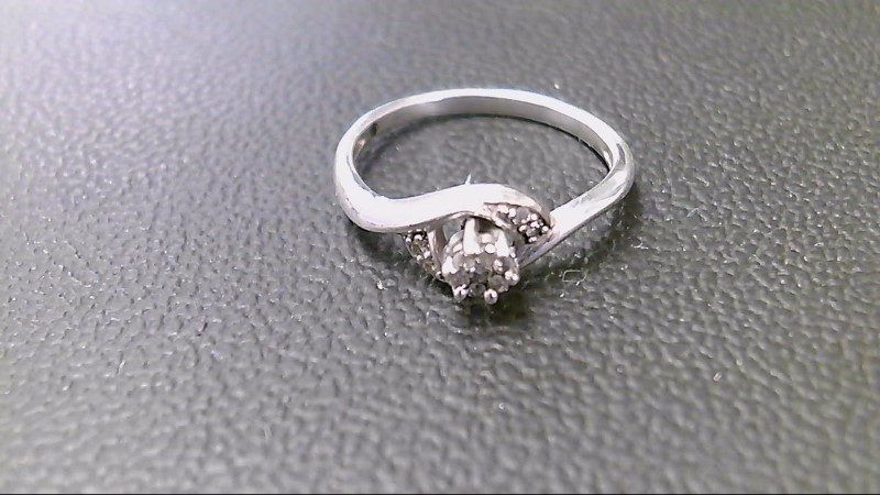 Lady's Silver-Diamond Ring 11 Diamonds .33 Carat T.W. 925 Silver 1.8g
