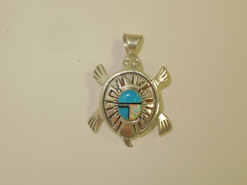 Synthetic Turquoise Silver-Stone Pendant 925 Silver 14.4g