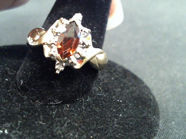 Brown Stone Lady's Stone Ring 10K Yellow Gold 3.3g Size:6.5