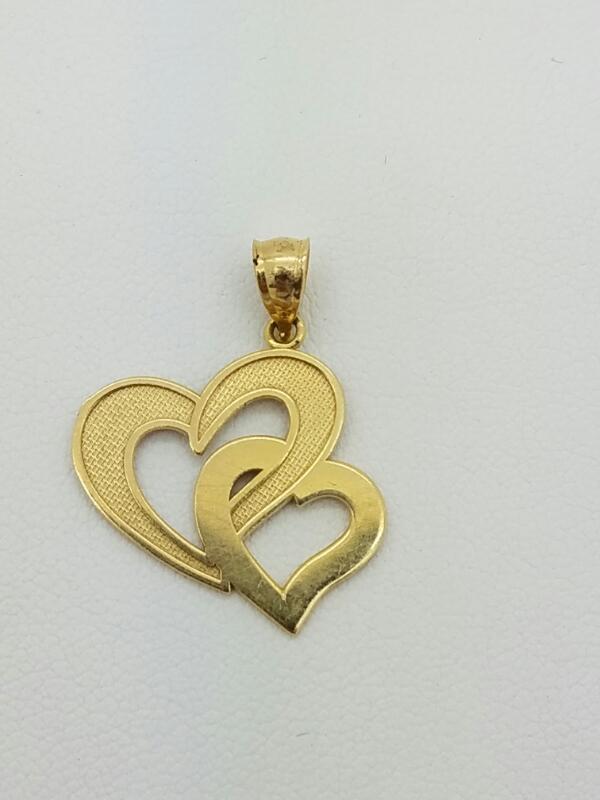 HEART  CHARM 14KT HEART 14K Y/G DBL HEART CHARM