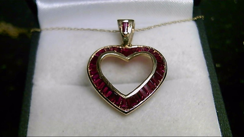 July Birthstone Baguette Ruby Gold-Stone 10K Yellow Gold Pendant