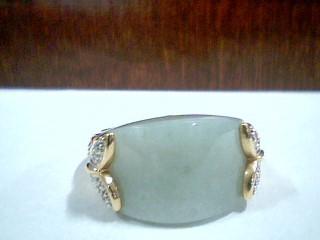 Synthetic Jade Lady's Stone & Diamond Ring 12 Diamonds .12 Carat T.W.